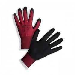 Rukavice červené povrstvené černým latexem, vel. 8