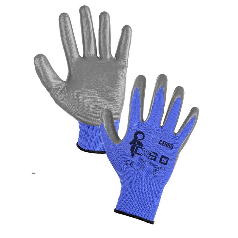Rukavice máčené v nitrilu, modro-šedé